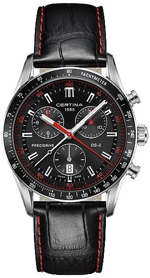 Certina - Reloj de Cuarzo para Hombre, correa de Cuero color Negro