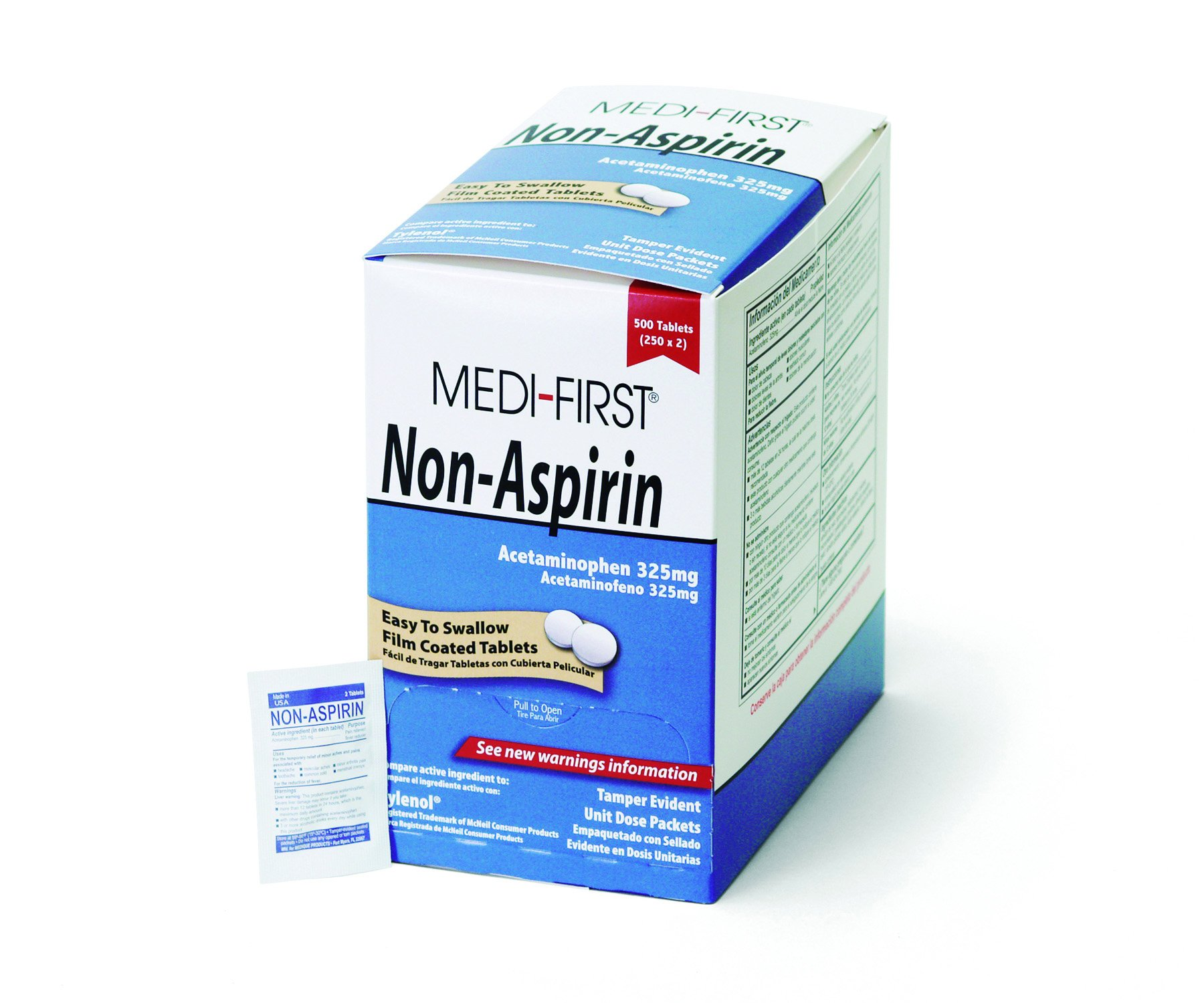 Medi-First 80313 Non-Aspirin Coated Tablets, 250 packets of 2 by Medi-First