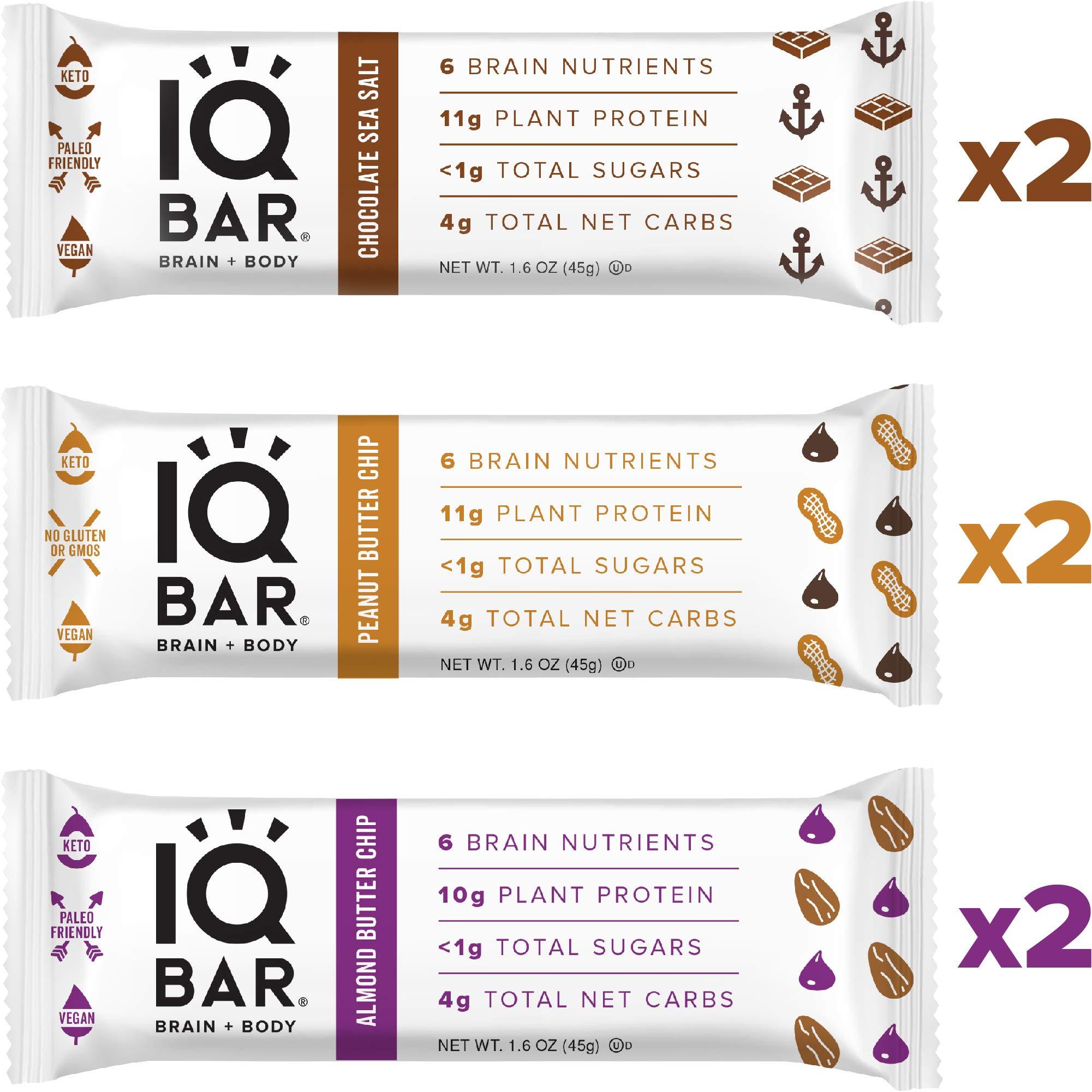 IQ BAR Brain + Body Bar Chocolate Lovers Variety Pack | 10g Plant Protein, 1g Sugar, 4g Net Carbs, Keto, Paleo Friendly, Vegan, Gluten Free, Low Carb, 1.6oz Bar, 6 Count by IQ BAR