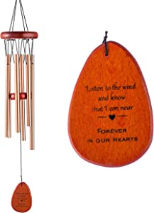 Memorial Wind Chimes Personalized Outdoor Sympathy Wind Chimes Gift Keepsake for Deceased Loved Aluminum Tubes Wooden Wind Bell for Garden/Patio Deco 24.5 Inch
