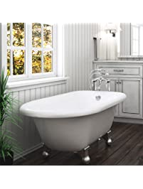 luxury 60 inch modern clawfoot tub in white with standalone tub design