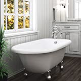 Luxury 60 inch Modern Clawfoot Tub in White with Stand-Alone Freestanding Tub Design, includes Modern Polished Chrome Cannonball Feet and Drain, from The Laughlin Collection