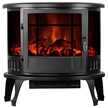 "Amazon.com: SUNCOO 1500W 23"" Free Standing Electric Fireplace Heater Stove Realistic Flame Black: Home & Kitchen"