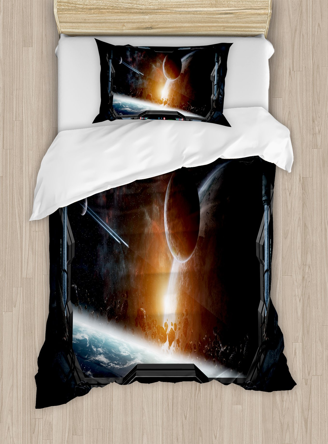 Ambesonne Outer Space Duvet Cover Set Twin Size, Scenery of Planets from The Window of a Shuttle Bodies Astronaut Space Station, Decorative 2 Piece Bedding Set with 1 Pillow Sham, Gray Orange