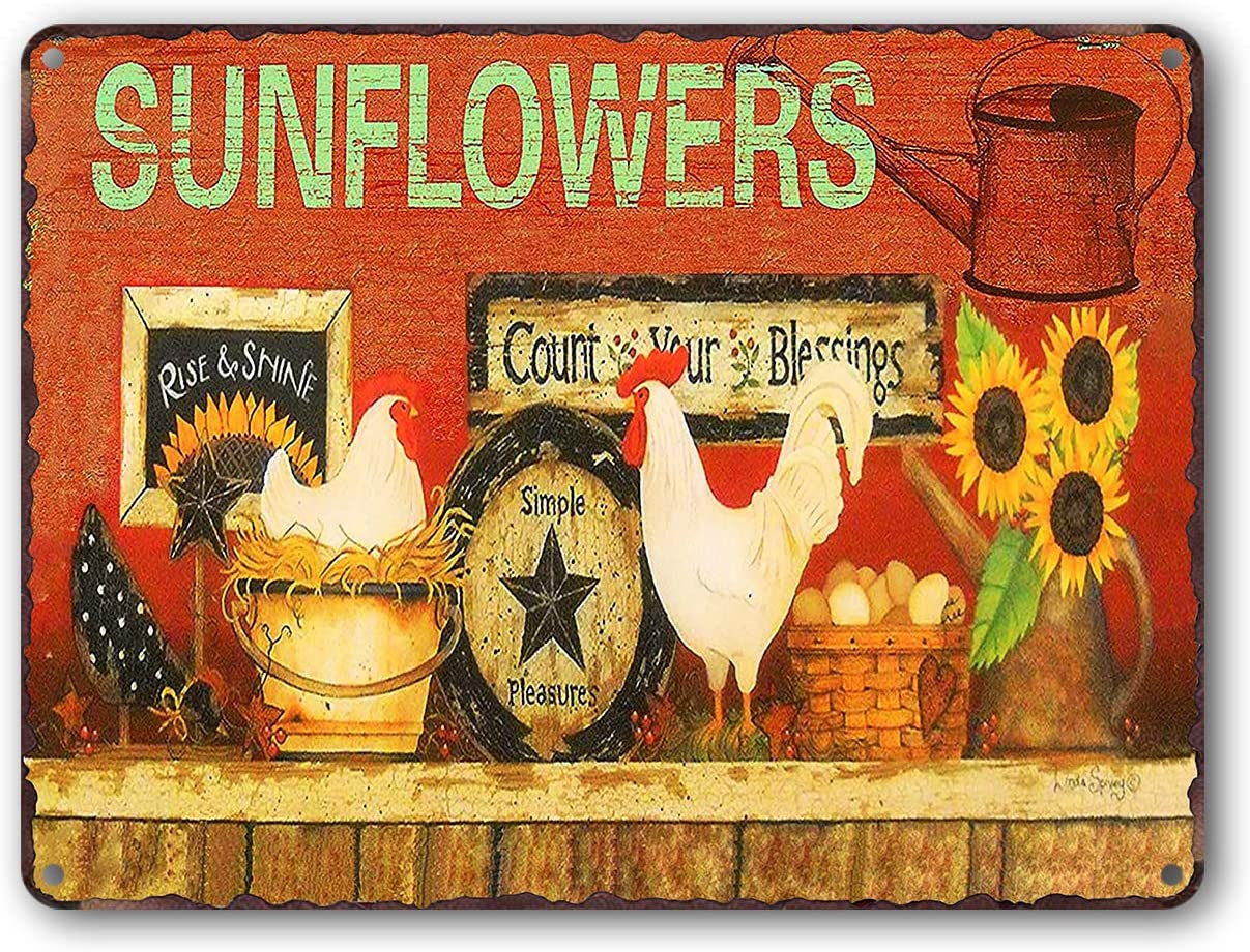 Goutoports Vintage Sunflower Tin Signs Chicken Country Farm Farmhouse Home Wall Decor Metal Signs 7.9x11.8 Inch