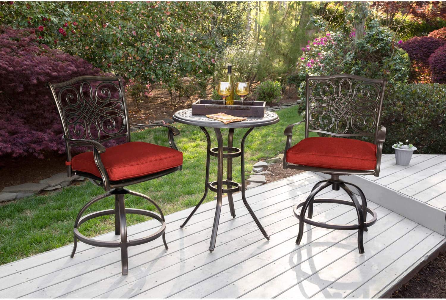 Hanover Traditions 3-Piece High-Dining Bistro Set in Red, TRAD3PCSWBR-RED Outdoor Furniture