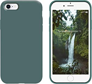 OTOFLY for iPhone SE Case 2020, iPhone 8 Case,iPhone 7 Case, [Silky and Soft Touch Series] Premium Soft Button Liquid Silicone Rubber Protective Case Compatible with iPhone 7/8/SE 2020 - Pine Green