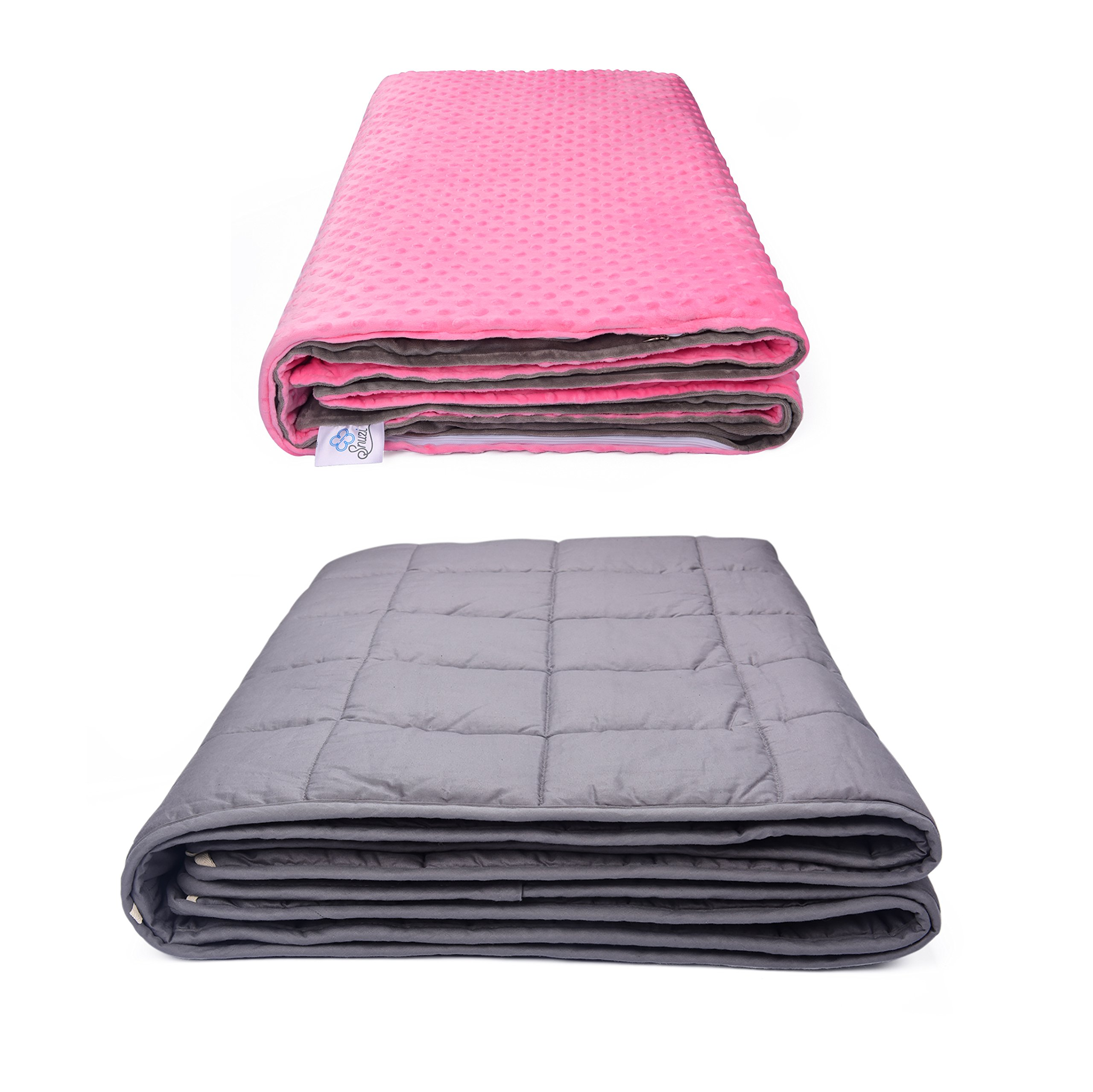 """SNUZI LIFE Weighted Blankets for Adults & Children with Anxiety 12lb 60x80"""" - Premium Gravity Blanket for Insomnia, Sensory Processing Disorder or Restless Leg Syndrome (Pink/Gray)"""