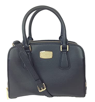 377bea2d5b497e Amazon.com: Michael Kors Reese Medium Leather Satchel Crossbody, Black:  Shoes