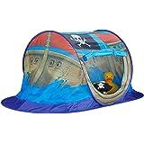Relaxdays Spielzelt Piratenschiff für Jungen, Pop Up Kinderzelt für Innen & Outdoor, Piratenzelt HxBxT 68x170x85cm, blau