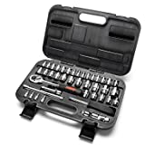 "MAXPOWER 42-Piece 1/4""& 3/8""Dr. Socket Wrench Set With Included Sockets, Ratchet Handle, Extension Bars, Universal Joint, Adapter, Spinner Handle, and Carrying Case"