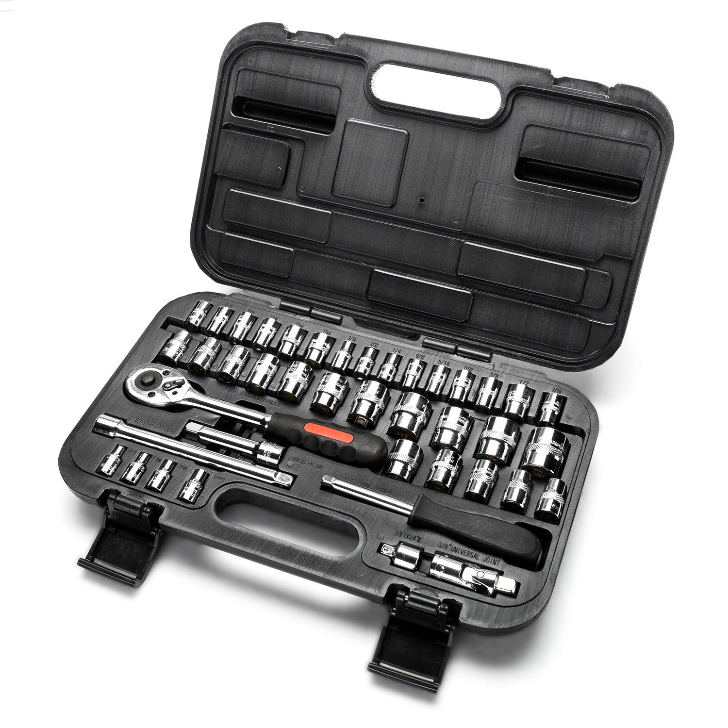 MAXPOWER 42-Piece 1/4''& 3/8'' Dr. Socket Wrench Set - Metric + SAE - With Included Sockets, Ratchet Handle, Extension Bars, Universal Joint, Adapter, Spinner Handle, and Carrying Case by MAXPOWER