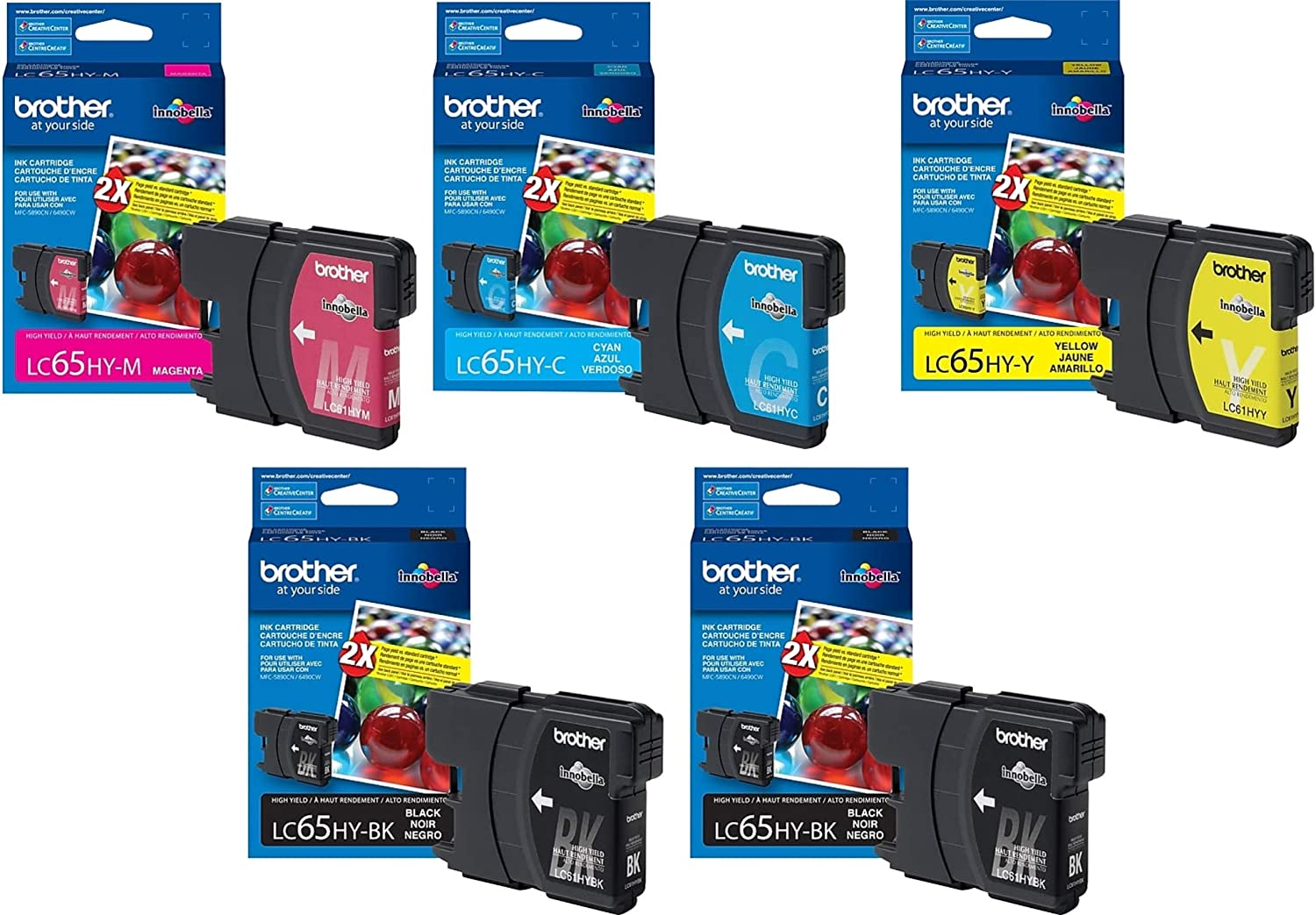 Magenta, 3 Pack MS Imaging Supply Compatible Inkjet Cartridge Replacement for Brother LC65M