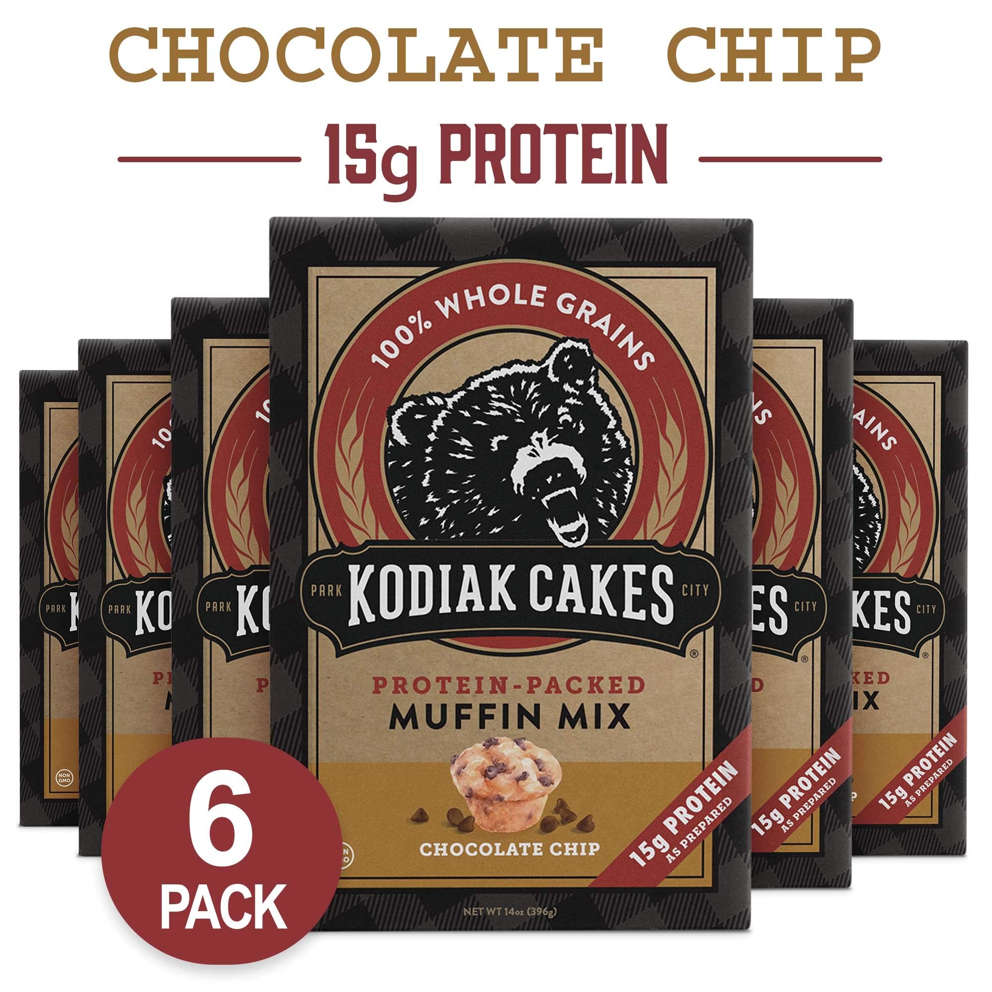 Kodiak Cakes Muffin Mix, Chocolate Chip (Pack of 6) by Kodiak Cakes