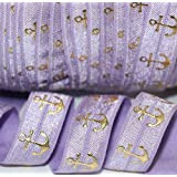 Top Hunter 5/8-Inch 10 Yds Fold Over Elastic Strips Gold Anchor Printed Stretch Ribbon FOE For Hair Tie Hair Band Headband Accessories,Purple