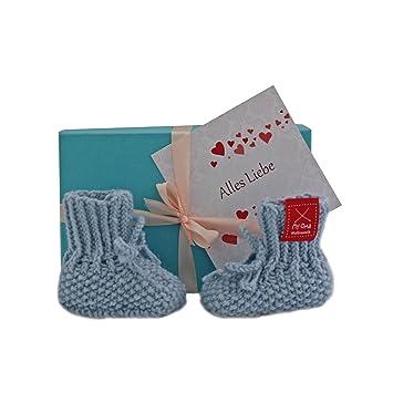 Geschenk Baby Baby Geschenkset Babyschuhchen Blau Gratis Karte