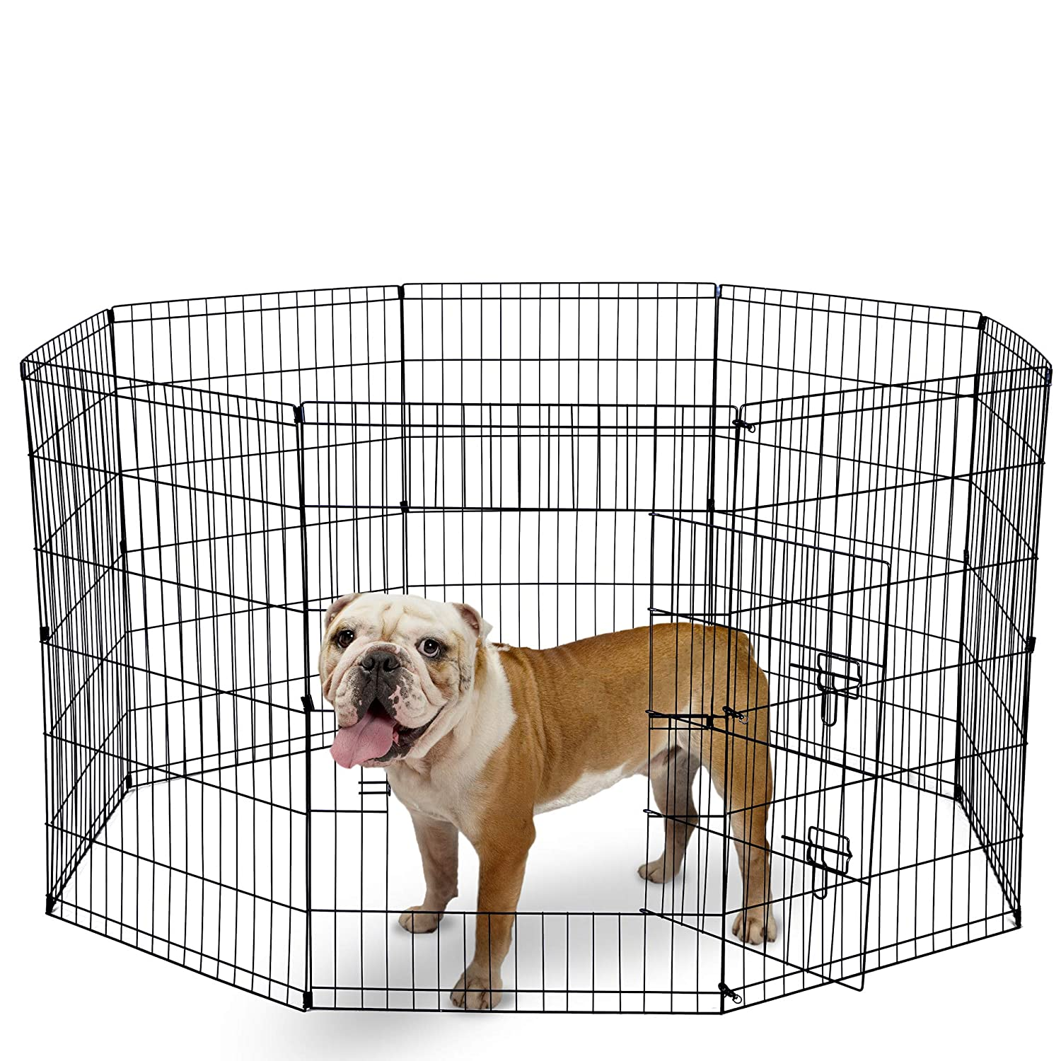 Paws Pals Dog Exercise Pen Pet Playpens for Dogs – Puppy Playpen Outdoor Back or Front Yard Fence Cage Fencing Doggie Rabbit Cats Playpens Outside Fences with Door – Metal Wire 8-Panel Foldable