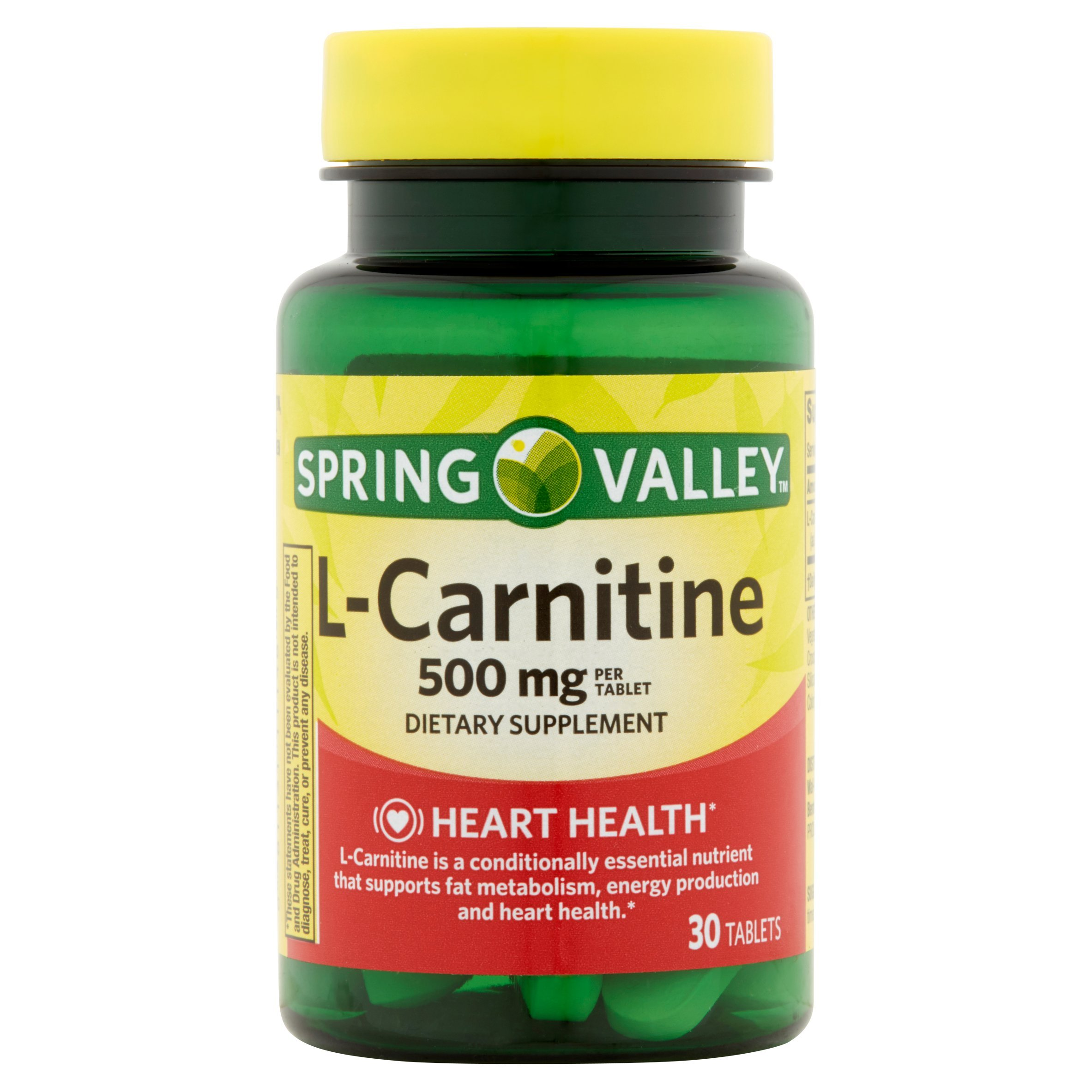 Spring Valley 30 Tablets 500 mg L-Carnitine Dietary Supplement 30