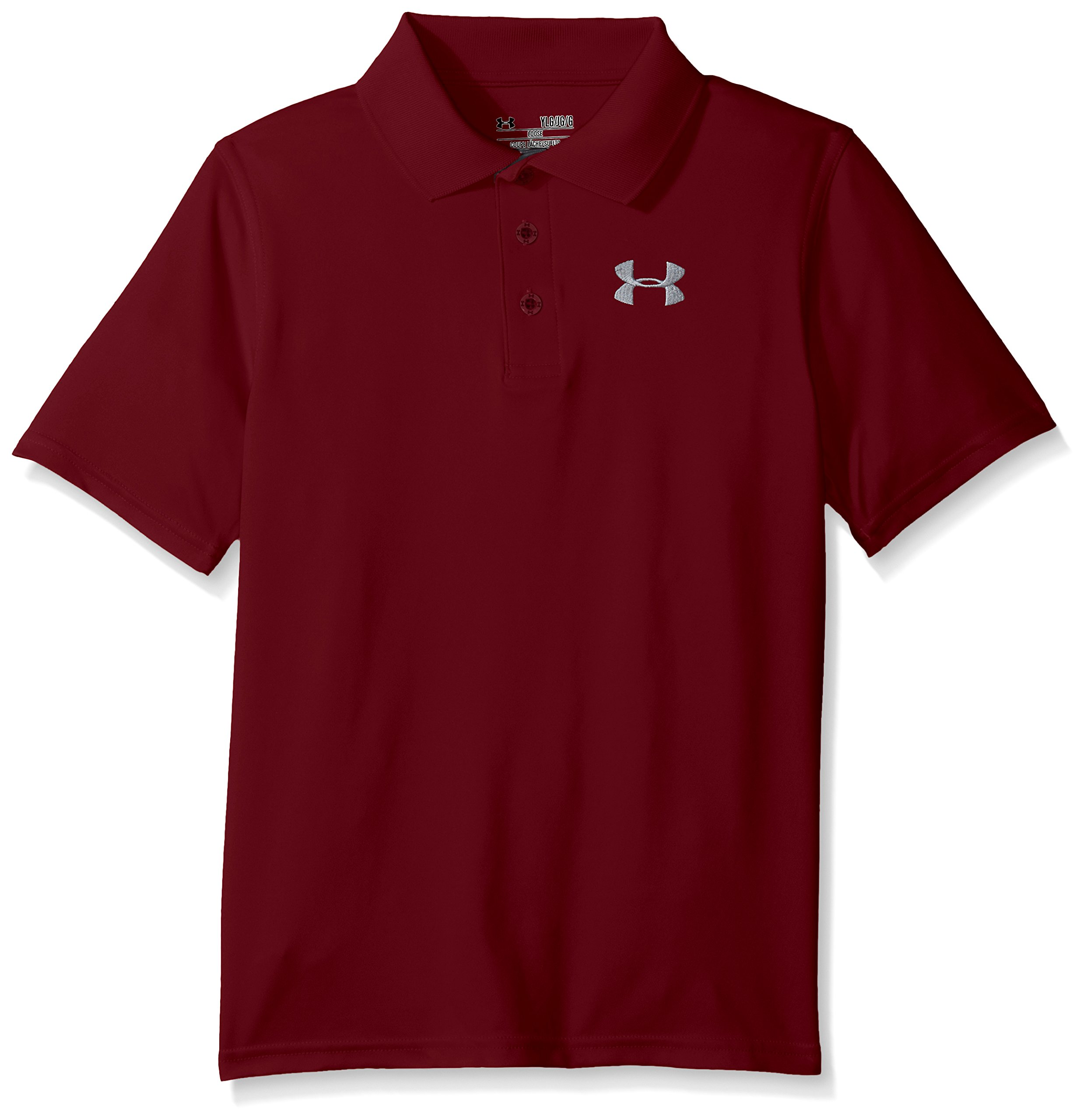 Under Armour Boys' Match Play Polo, Deep Red /Steel, Youth X-Large