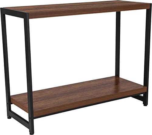Flash Furniture Grove Hill Collection Rustic Wood Grain Finish Console Table with Black Metal Frame -, NAN-JH-1747-GG