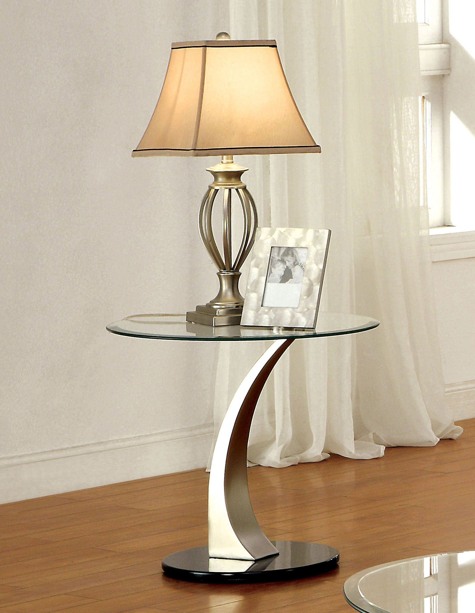 Furniture of America Kassandra Modern End Table, Metallic Finish
