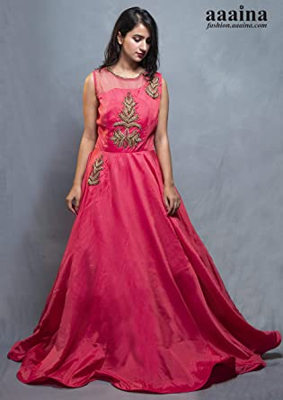 92d6eaa533f aaaina Silk Fabric Fully Flared Stitched Pink Gown with Designer Neck Along  with Tilla Tapka Embroidery