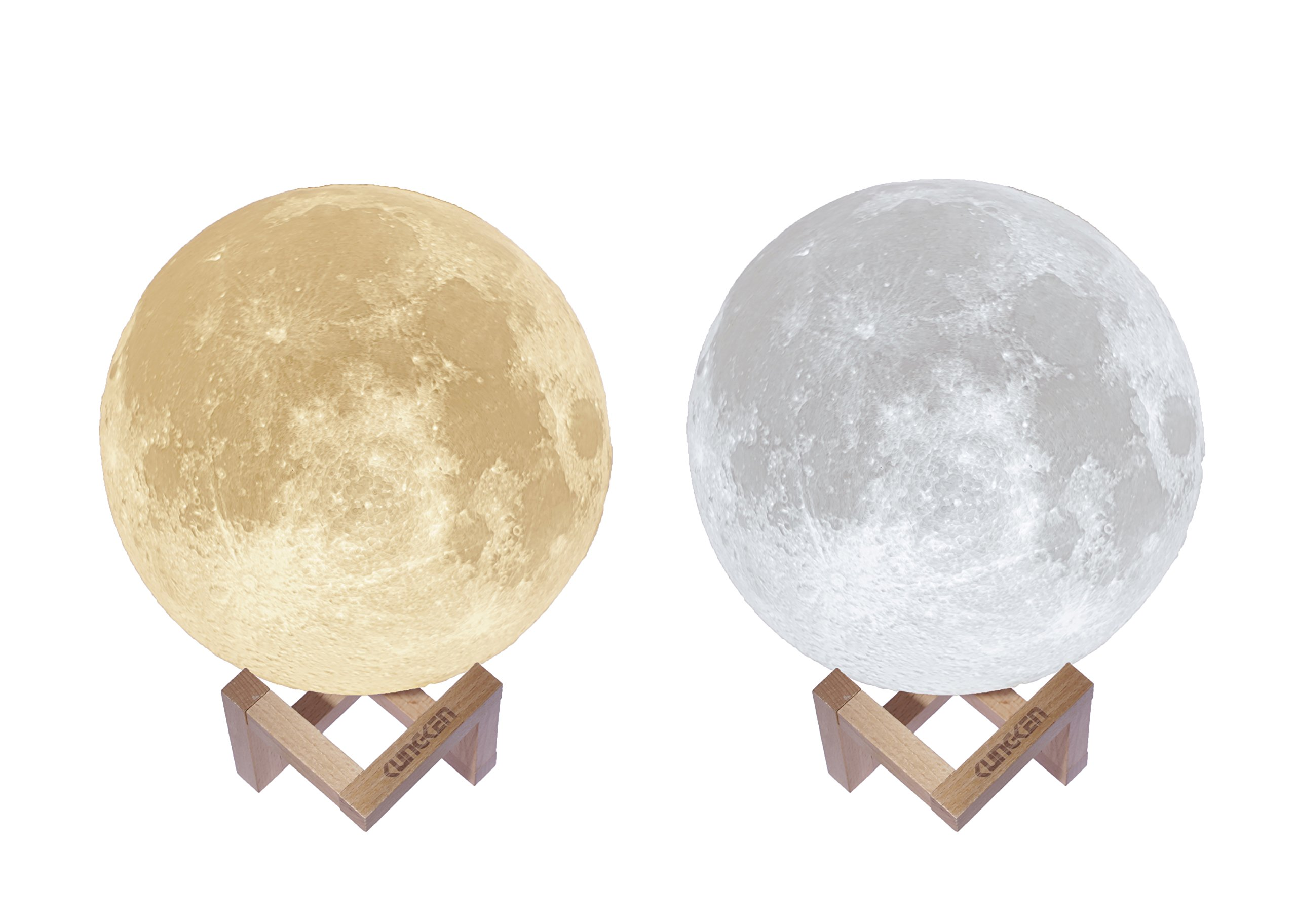 KUNGKEN Rechargeable 3D Printing Moon Lamp Touch Switch Luna Night Light Color And Brightness Adjustable With Wooden Mount 8.67IN