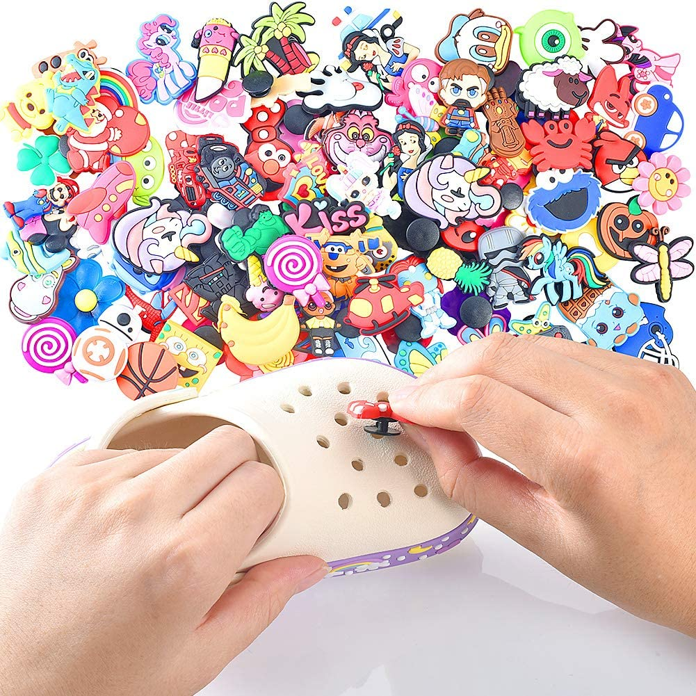 Efivs Arts 100pcs Different Shape Shoes Charms Fits for Croc Shoes /& Jibbitz Wristband Bracelet Party Gifts