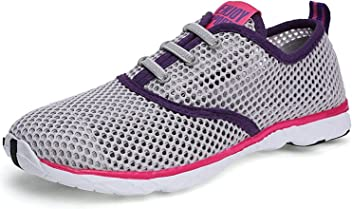 Also Easy Exquisite Womens Quick Drying Aqua Water Shoes Grey purple8.5 B(M