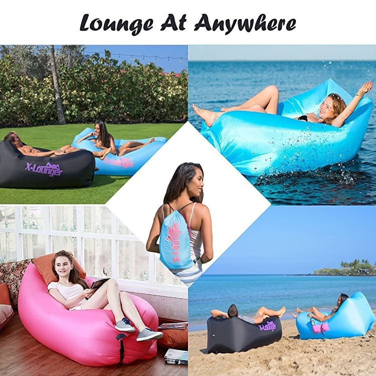 Inflatable Lounger with Air Valve, Fast Inflate by Air Pump or Wind Air Bag Lounger With Mesh