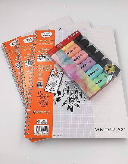 Cuaderno cuadriculado Whitelines Link, tamaño A4, 80 g/m², papel (multipaquete) con 6 rotuladores Stabilo Pastel Pack of 3 Books plus 6 Stabilo Pastel Highlighters: Amazon.es: Oficina y papelería