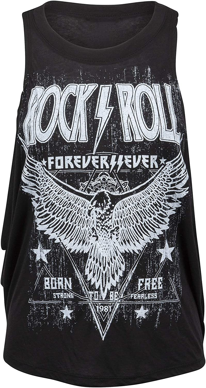 Womens Black RocknRoll Forever Loose Fit Tank Top Muscle Tee