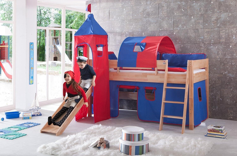 Erst-Holz® - Letto a soppalco per Bambini, in Legno di faggio Massiccio, 90 x 200 cm, Letto a Mezza Altezza