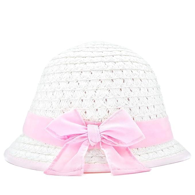 52d3a37d2db88 Amazon.com  accsa Kid Girl Soft Straw Sun Hat UPF Foldable Summer Beach  Brim Cap Ribbon Bow Age 3-6 White and Pink  Clothing