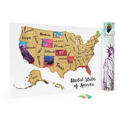 Amazon.com: Scratch Off Map of The United States - 12x17 US ...