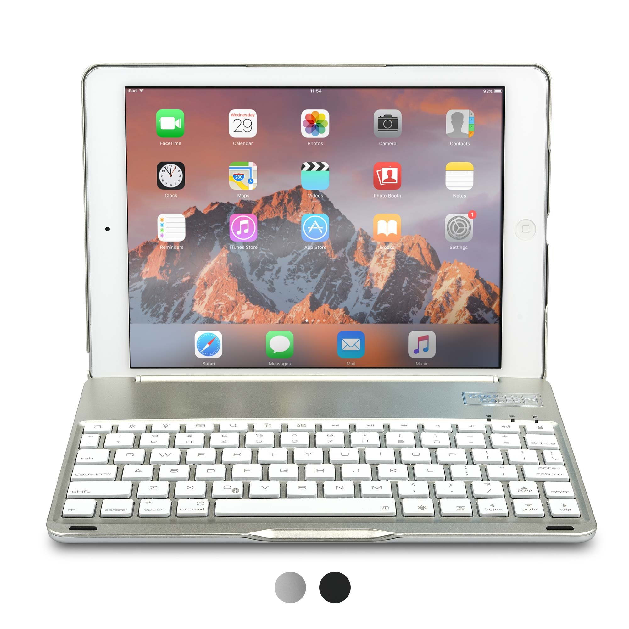 iPad Air Keyboard case, COOPER NOTEKEE F8S Backlit LED Bluetooth Wireless Rechargeable Keyboard Portable Laptop Macbook Clamshell Clamcase Cover with 7 Backlight Colors for Apple iPad Air (Silver)
