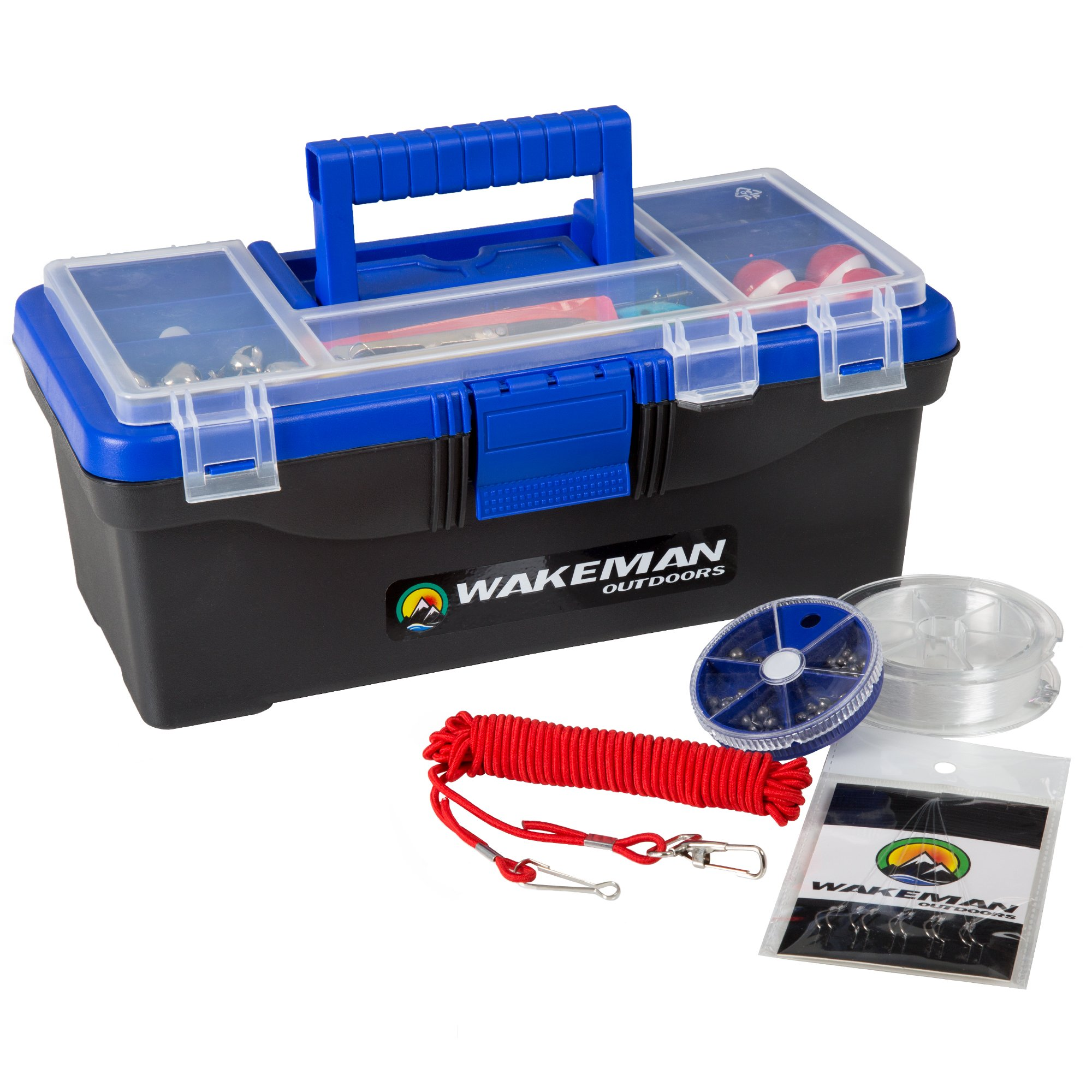 Fishing Single Tray Tackle Box- 55 Piece Tackle Gear Kit Includes Sinkers, Hooks Lures Bobbers Swivels and Fishing Line By Wakeman Outdoors Blue by Wakeman