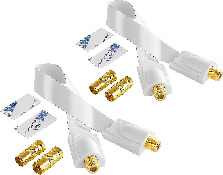 Poppstar 2X Cable pasaventanas Sat 28cm (Cable coaxial Muy Plano 0,2mm), 4X Conector F Macho a (2X IEC Macho, 2X IEC Hembra), 4 Tiras Adhesivas, ...