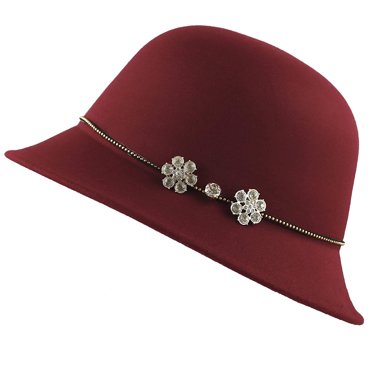 1920s Hat Styles for Women- History Beyond the Cloche Hat The Hat Depot Felt Cloche Winter Hat with Studded band Rhinestone Flower $18.95 AT vintagedancer.com