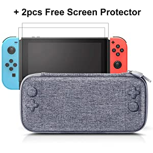 Ultra Slim Carrying Case Fit for Nintendo Switch, MAKTER Carrying Case with Screen Protector for Nintendo Switch with 2pcs Tempered Glass Screen Protector