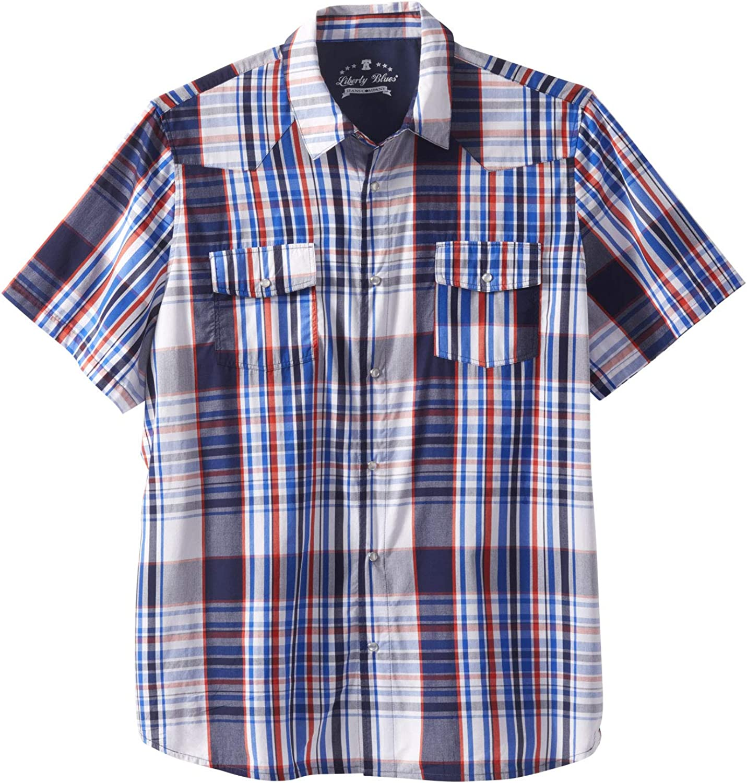 Liberty Blues Mens Big /& Tall Summer Snap-Button Shirt