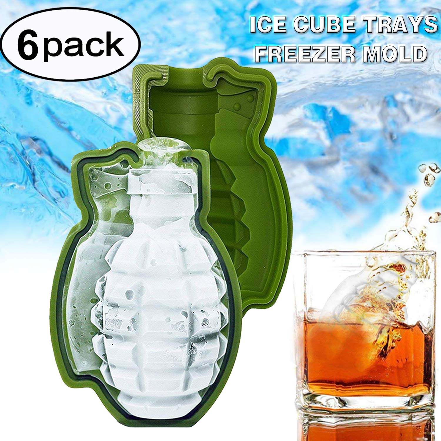 Genevo 6 Pack 3D Ice Cube Mold Grenade Shape Bar Party, Flexible Silicone Trays Freezer Mold Gift Tool for Whisky Cocktail Ice Ball ,Chilled Drinks, Molds 2.5 Inch Removable Ice Block for Halloween