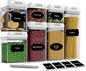 Airtight Food Storage Container Set-CINEYO-7 Piece Set Clear Plastic Canisters For Cereal, Flour with Easy Lock Lids, for Kitchen Pantry Organization and Storage, Include Labels and Marker (White)