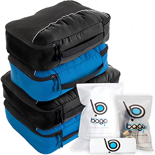 Packing Cubes 4pcs Value Set for Travel - Plus 6pcs Luggage Organiser Zip Bags (Black+BlueTale)