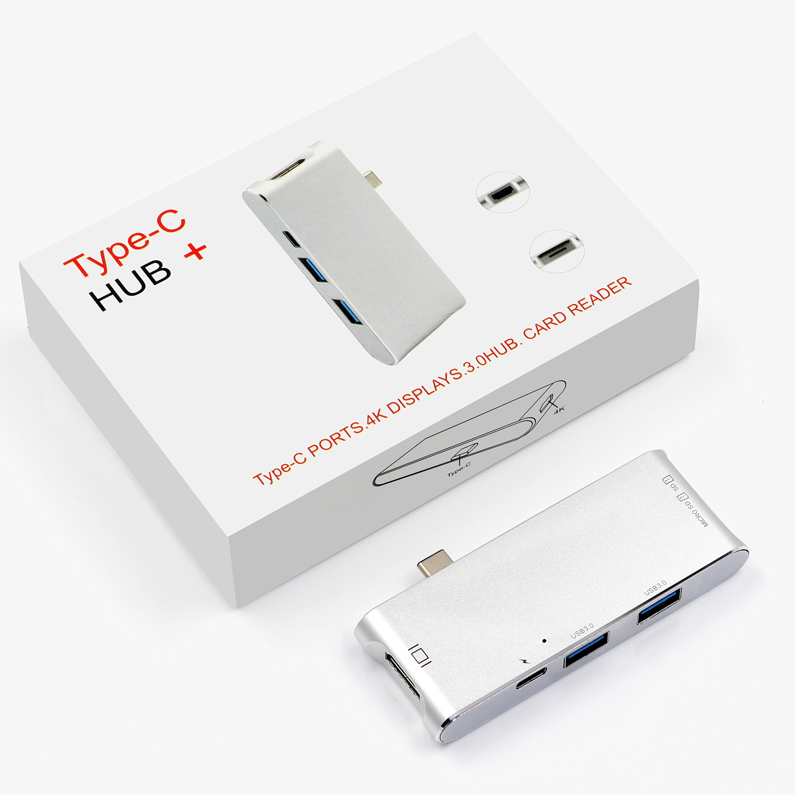 USB Type-C Hub, LUCKYDIY USB-C Adapter with HDMI 4K+2-Port USB 3.0+Power Delivery+Card Reader for MacBook Pro 2016/2017/Google Chromebook/More Type-C Devices by LUCKYDIY (Image #7)