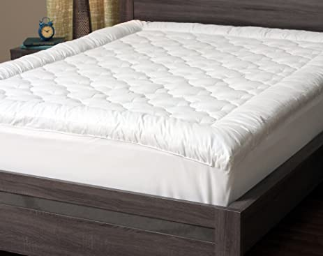 Quilted Pillow Top Mattress Protector Cover. This Soft Mattress Pad Fitted  For Your Bed Adds