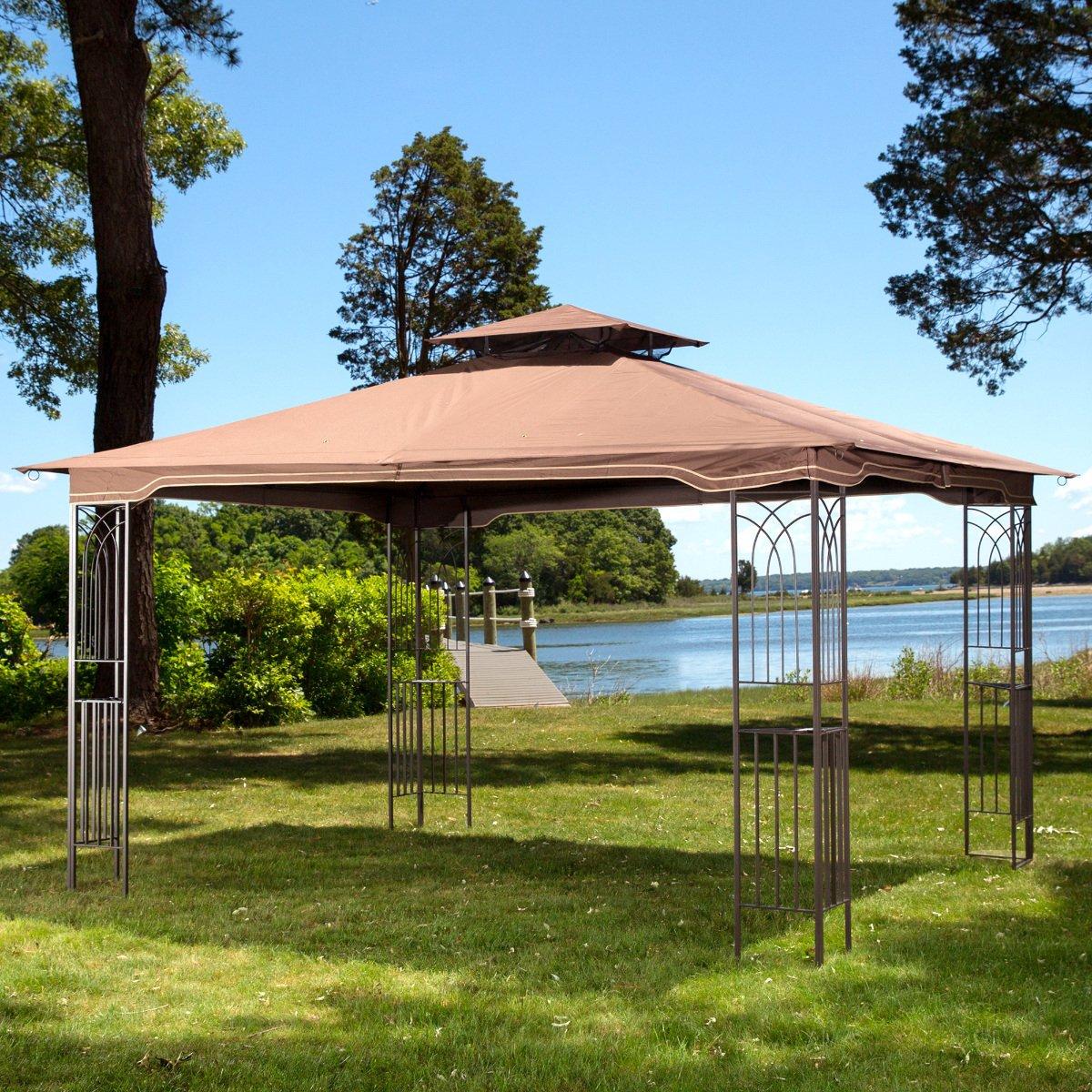 Steel Framed Gazebos : Gazebo metal frame canopy mosquito netting outdoor