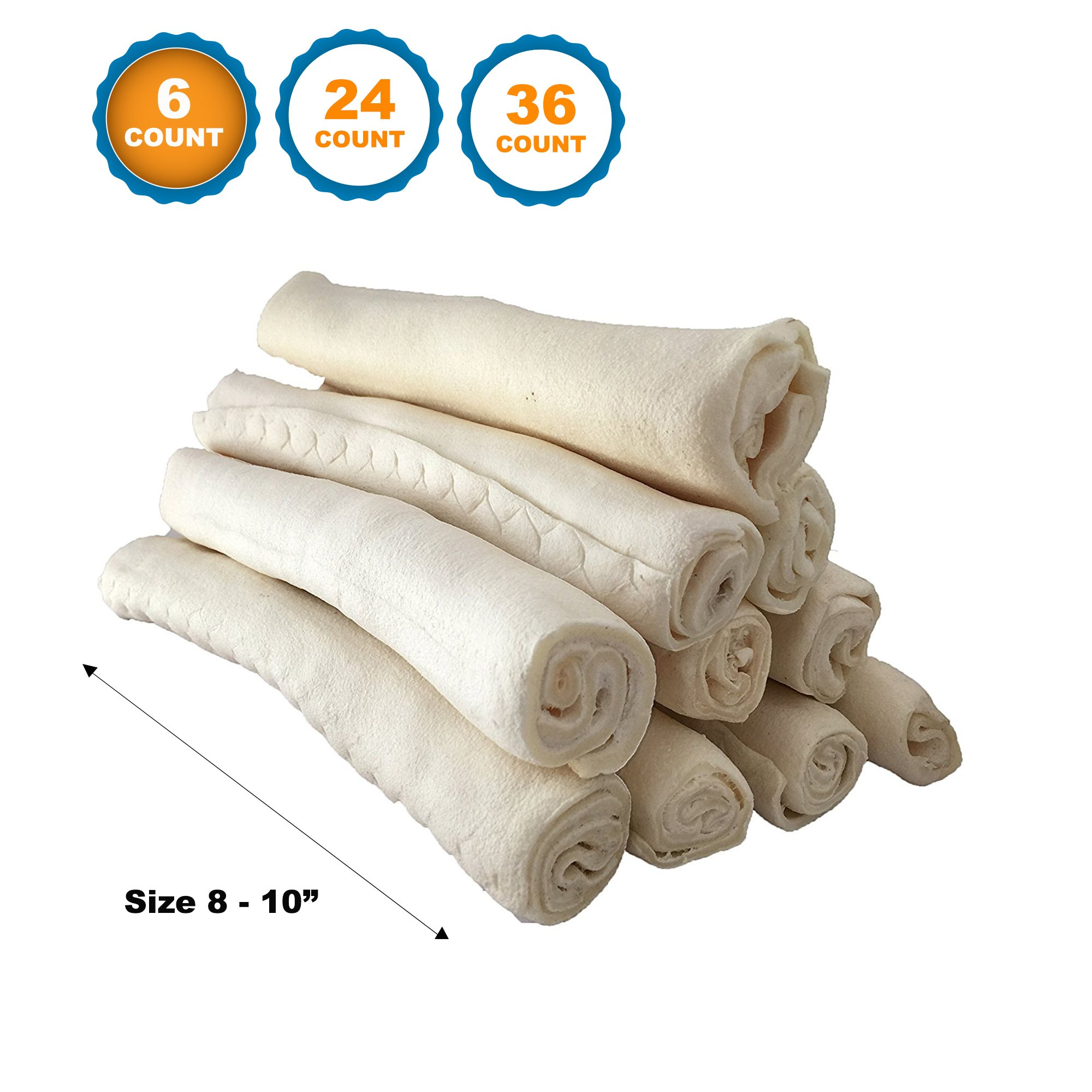 """123 Treats Premium Rawhide Retriever Rolls For Dogs 8-10"""" (6 Count) 100% All-Natural Grass-Fed Free-Range Hand Rolled Beef Rawhide High-Protein Healthy Chew Treats To Improve Pet Dental Hygiene"""