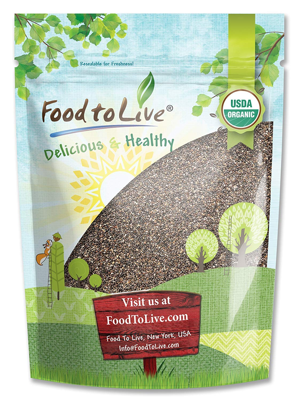 Semillas de Chía orgánica, 8 Onzas - negro, vegano, kosher, sin OGM, ideal para batidos