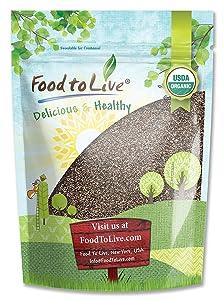 Organic Chia Seeds, 8 Ounces — Black, Vegan, Kosher, Non-GMO, Great for Smoothies, Sirtfood
